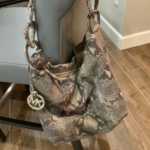 Michael Kors snakeskin leather handbag